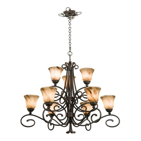 Kalco Nine Light Tortoise Shell Gold-Streaked Amber Glass Up Chandelier