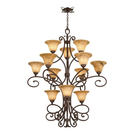 Kalco Twelve Light Tortoise Shell Penshell Glass Up Chandelier