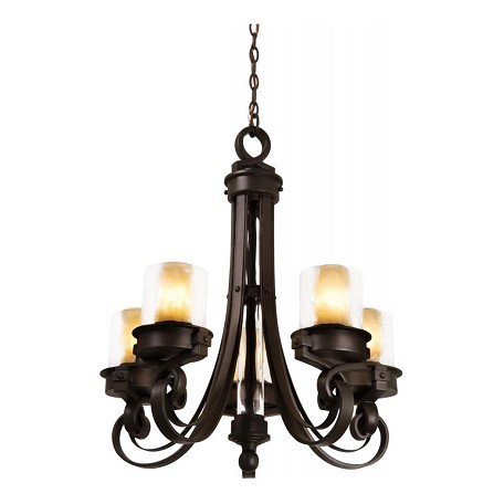 Kalco Satin Bronze Newport 5 Light 1 Tier Chandelier