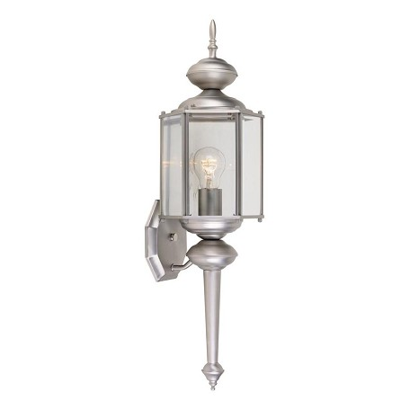 Designers Fountain Pewter w/clear 1 Light 7in. Wall Lantern with Clear Beveled Glass