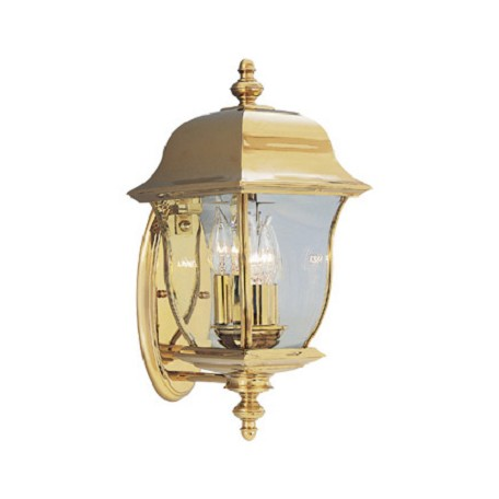 "Designers Fountain Polished Brass Pvd Finish 3 Light 8"" Wall Lantern Solid Brass Pvd"