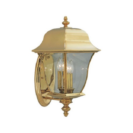 "Designers Fountain Polished Brass Pvd Finish 3 Light 10"" Wall Lantern Solid Brass Pvd"