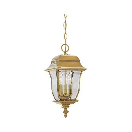 "Designers Fountain Polished Brass Pvd Finish 3 Light 10"" Hanging Lantern Solid Brass Pvd"
