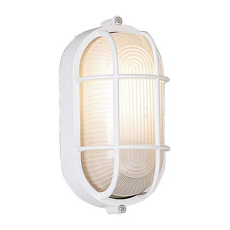 Designers Fountain White 1 Light 5in. Oval Bulkhead with Guard