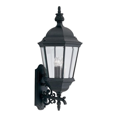 Designers Fountain Black 3 Light 13in. Cast Aluminum Wall Lantern from the Abbington Collection