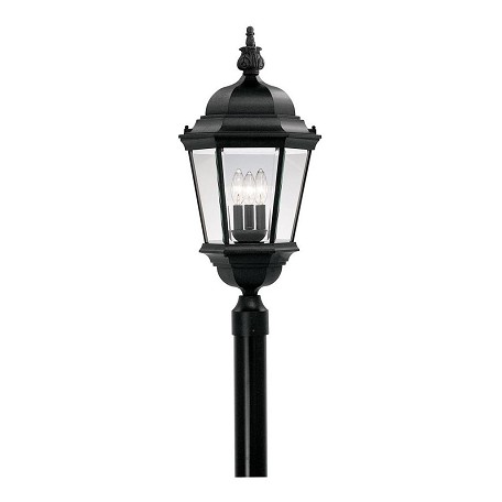 Designers Fountain Black 3 Light 13in. Cast Aluminum Post Lantern from the Abbington Collection