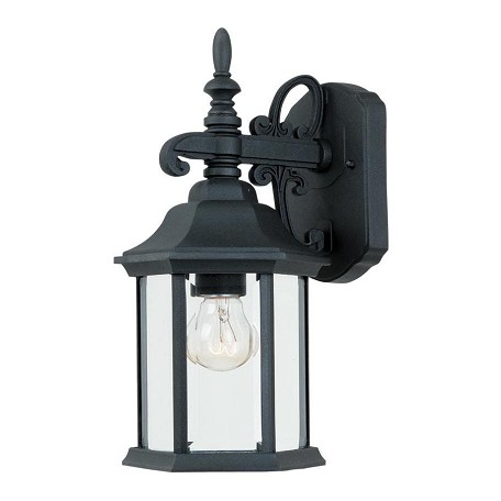 Designers Fountain Black 1 Light 6.25in. Cast Aluminum Wall Lantern from the Devonshire Collection