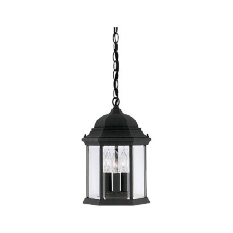 "Designers Fountain Black 3 Light 9.5"" Cast Aluminum Hanging Lantern From The Devonshire Collection"