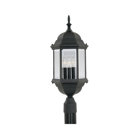 Designers Fountain Black 3 Light 9.5in. Cast Aluminum Post Lantern from the Devonshire Collection
