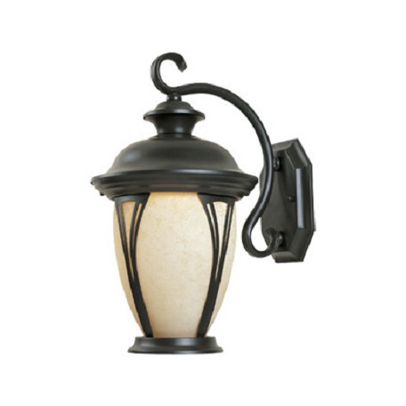 Designers Fountain Bronze w/amber glass 2 Light 9in. Wall Lantern from the Westchester Collection