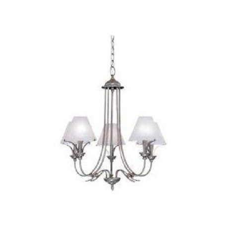 Designers Fountain Pewter 5 Light Chandelier With Faux Alabaster Shades Palladium Collection