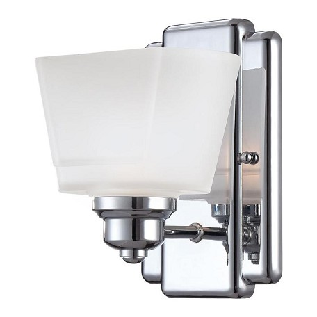 Designers Fountain Chrome 1 Light Bathroom Fixture from the Metropolis Collection