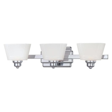 Designers Fountain Chrome 3 Light Bathroom Fixture from the Metropolis Collection