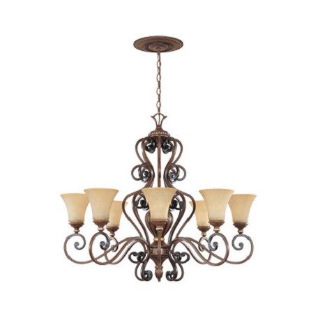 Designers Fountain Burnished Walnut With Gold Eight Light Up Lighting Chandelier