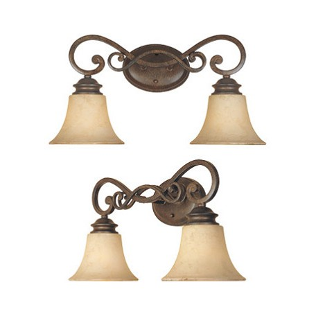 "Designers Fountain Forged Sienna Two Light Down Lighting 19.5"" Wide Bathroom Fixture"