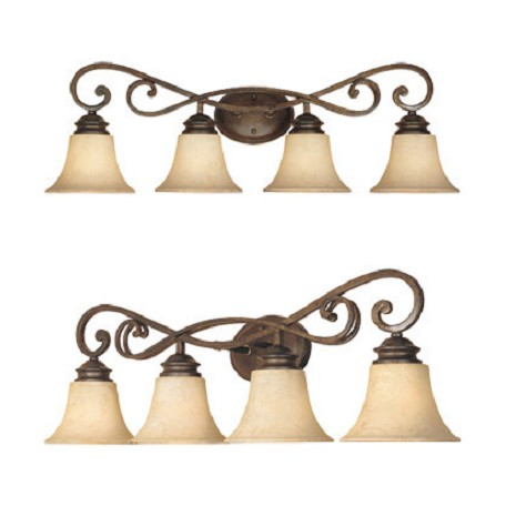 "Designers Fountain Forged Sienna Four Light Down Lighting 31.75"" Wide Bathroom Fixture"