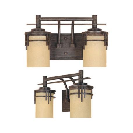 Designers Fountain Warm Mahogany Asian Two Light Down Lighting 14 5 Wide Bathroom Fixture Warm