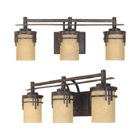 "Designers Fountain Warm Mahogany Asian Three Light Down Lighting 23.5"" Wide Bathroom Fixture"