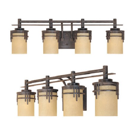 "Designers Fountain Warm Mahogany Asian Four Light Down Lighting 29.5"" Wide Bathroom Fixture"