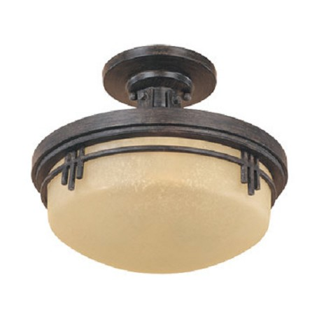 Designers Fountain Warm Mahogany Asian Two Light Down Lighting Semi Flush Ceiling Fixture