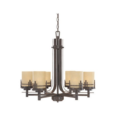 Designers Fountain Warm Mahogany Mission Ridge 6 Light 1 Tier Chandelier with Navajo Dust Shade