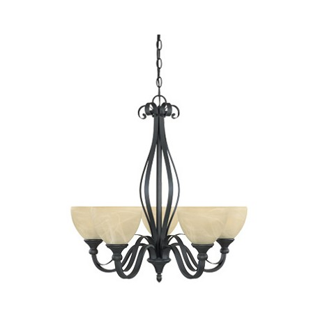 Designers Fountain Burnished Bronze 5 Light Del Amo Collection Up Light Chandelier
