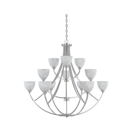 Designers Fountain Burnished Bronze 12 Light Chandelier With Satin Platinum