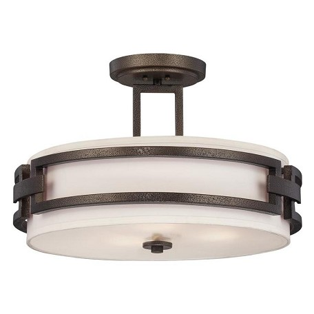 Designers Fountain Flemish Bronze 3 Light Semi-Flush Mount Ceiling Fixture Del Ray Collection