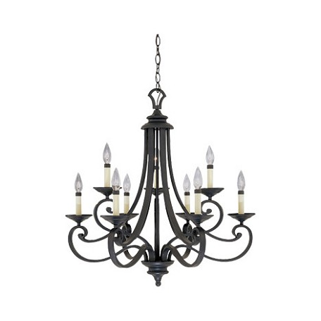 Designers Fountain Natural Iron 9 Light Candelabra Chandelier from the Barcelona Collection