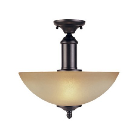 Designers Fountain Oil Rubbed Bronze Two Light Down Lighting Semi Flush Ceiling Fixture