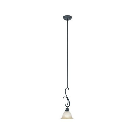 Designers Fountain Natural Iron Down Lighting Mini Pendant With Ochere Finished Glass Shade