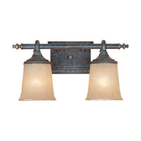 "Designers Fountain Weathered Saddle Two Light Down Lighting 17.5"" Wide Bathroom Fixture"