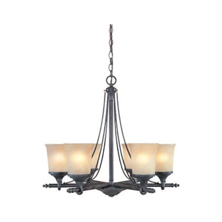 Designers Fountain Weathered Saddle Six Light Up Lighting Chandelier from the Austin Collection