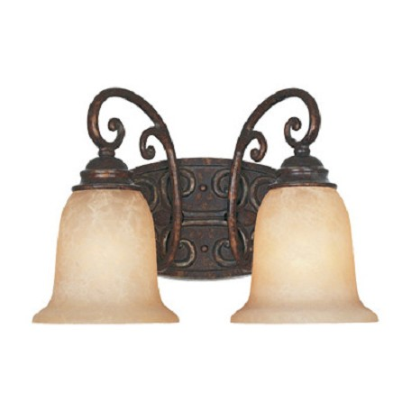 "Designers Fountain Burnt Umber Two Light Down Lighting 14"" Wide Bathroom Fixture"