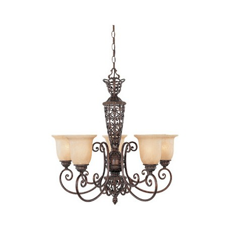 Designers Fountain Burnt Umber Five Light Up Lighting Chandelier from the Amherst Collection