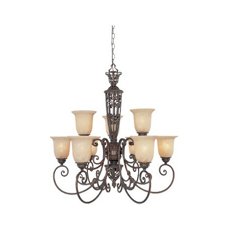 Designers Fountain Burnt Umber Nine Light Up Lighting Two Tier Chandelier Amherst Collection