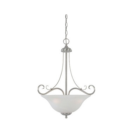 Designers Fountain Satin Platinum Three Light Down Lighting Bowl Pendant Stratton Collection
