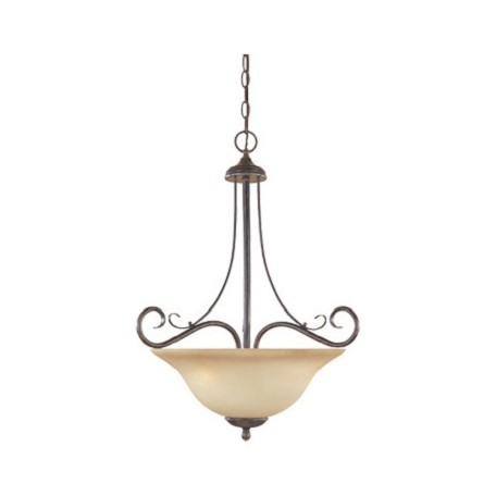 Designers Fountain Satin Platinum Three Light Bowl Pendant From The Stratton Collection