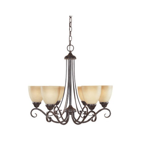 Designers Fountain Satin Platinum Six Light Up Lighting Chandelier