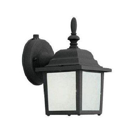"Designers Fountain Black 5.25""W Single Light Energy Star Outdoor Wall Sconce With Glacier Glass"