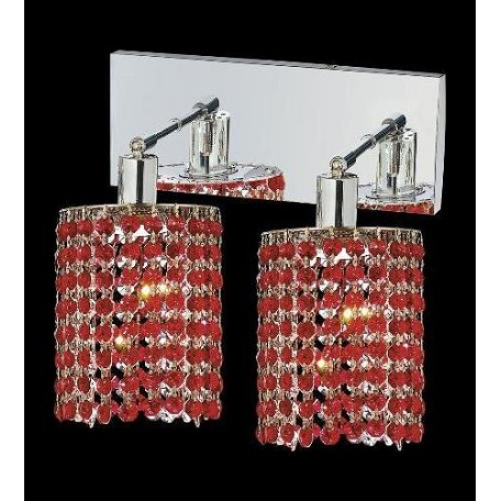 Elegant Royal Cut Bordeaux Red Crystal Mini 2-Light Crystal Wall Sconce