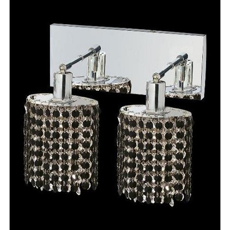 Elegant Royal Cut Jet Black Crystal Mini 2-Light Crystal Wall Sconce