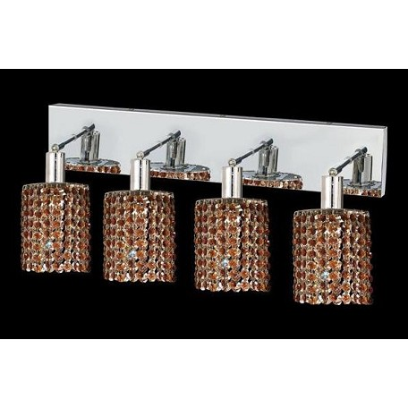 Elegant Royal Cut Brown Topaz Crystal Mini 4-Light Crystal Wall Sconce
