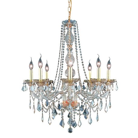 Elegant Lighting Royal Cut Champagne Golden Shadow Crystal Verona 8-Light