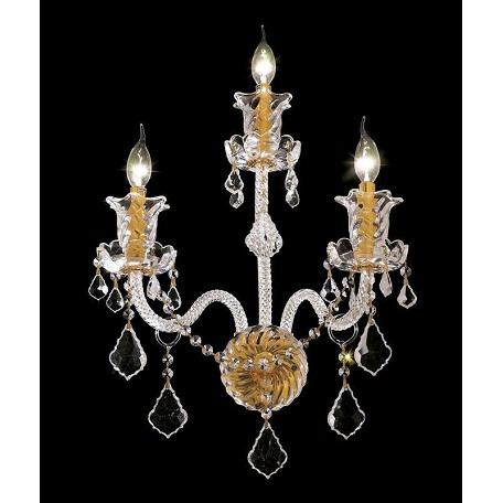 Elegant Lighting Royal Cut Clear Crystal Elizabeth 3-Light Crystal Wall Sconce