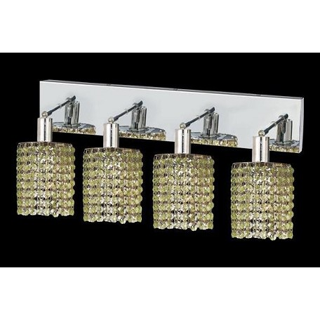 Elegant Royal Cut Light Green Peridot Crystal Mini 4-Light Crystal Wall Sconce