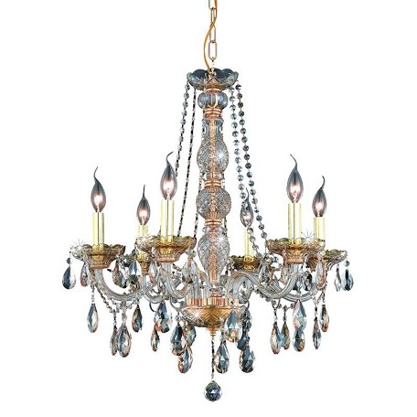 Elegant Lighting Royal Cut Champagne Golden Shadow Crystal Verona 6-Light