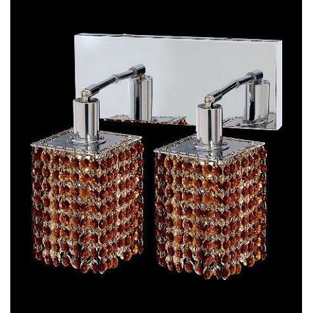 Elegant Swarovski Elements Brown Topaz Crystal Mini 2-Light Crystal Wall Sconce