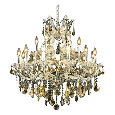Elegant Lighting Swarovski Elements Smoky Golden Teak Crystal Maria Theresa 19-Light