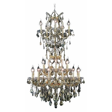 Elegant Lighting Swarovski Elements Smoky Golden Teak Crystal Maria Theresa 25-Light